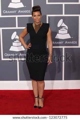 LOS ANGELES - FEB 12:  ALICIA KEYS arriving to Grammy Awards 2012  on February 12, 2012 in Los Angeles, CA - stock photo
