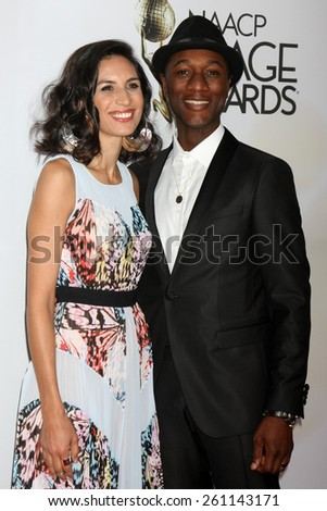 LOS ANGELES - FEB 6:  Aloe Blacc at the 46th NAACP Image Awards Arrivals at a Pasadena Convention Center on February 6, 2015 in Pasadena, CA - stock photo