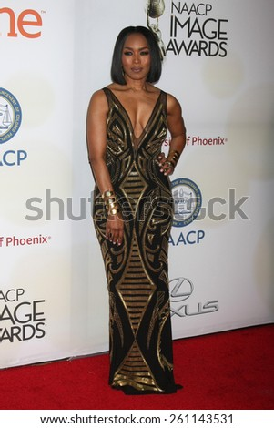 LOS ANGELES - FEB 6:  Angela Bassett at the 46th NAACP Image Awards Arrivals at a Pasadena Convention Center on February 6, 2015 in Pasadena, CA - stock photo