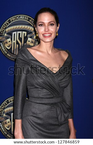 LOS ANGELES - FEB 10:  Angelina Jolie at the 2013 American Society of Cinematographers Awards at the Grand Ballroom, Hollywood & Highland on February 10, 2013 in Los Angeles, CA - stock photo