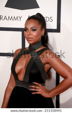 LOS ANGELES - FEB 8:  Ashanti at the 57th Annual GRAMMY Awards Arrivals at a Staples Center on February 8, 2015 in Los Angeles, CA - stock photo