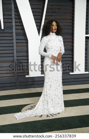 LOS ANGELES - FEB 22:  Beyonce Knowles at the Vanity Fair Oscar Party 2015 at the Wallis Annenberg Center for the Performing Arts on February 22, 2015 in Beverly Hills, CA - stock photo