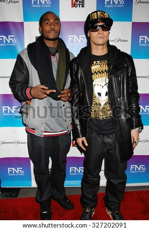 LOS ANGELES - FEB 8 - Bone Thugs N Harmony arrives at the 16th Annual Friends N Family Pre Grammy Party on February 8, 2013 in Los Angeles, CA              - stock photo