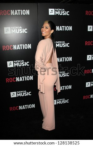 LOS ANGELES - FEB 9:  Bridget Kelly arrives at the ROC NATION Annual Pre-Grammy Brunch at the Soho House on February 9, 2013 in West Hollywood, CA - stock photo