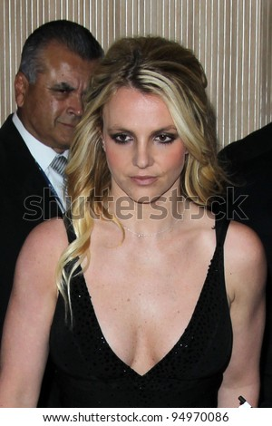 LOS ANGELES - FEB 11:  Britney Spears arrives at the Pre-Grammy Party hosted by Clive Davis at the Beverly Hilton Hotel on February 11, 2012 in Beverly Hills, CA - stock photo
