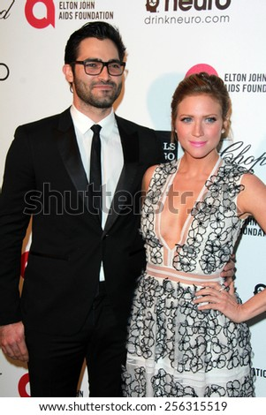 LOS ANGELES - FEB 22: brittany snow and tyler hoechlin at the Elton John Oscar Party 2015 at the City Of West Hollywood Park on February 22, 2015 in West Hollywood, CA - stock photo