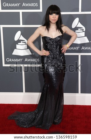 LOS ANGELES - FEB 10:  Carly Rae Jepsen arrives to the Grammy Awards 2013  on February 10, 2013 in Los Angeles, CA. - stock photo