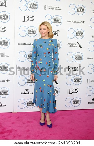 LOS ANGELES - FEB 21:  Cate Blanchett at the 30th Film Independent Spirit Awards at a tent on the beach on February 21, 2015 in Santa Monica, CA - stock photo