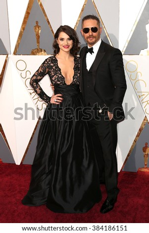 LOS ANGELES - FEB 28:  Charlotte Riley, Tom Hardy at the 88th Annual Academy Awards - Arrivals at the Dolby Theater on February 28, 2016 in Los Angeles, CA - stock photo