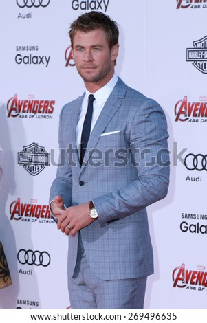 "LOS ANGELES - FEB 13:  Chris Hemsworth at the ""Avengers; Age Of Ultron"" Los Angeles Premiere at the Dolby Theater on April 13, 2015 in Los Angeles, CA - stock photo"