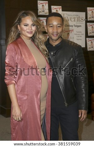 LOS ANGELES - FEB 23:  Chrissy Teigen, John Legend at the Book Signing of Cravings - Recipes For All The Food You Want To Eat at Barnes and Noble at The Gorve on February 23, 2016 in Los Angeles, CA - stock photo