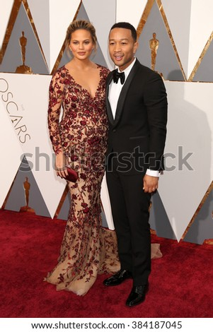 LOS ANGELES - FEB 28:  Chrissy Teigen, John Legend at the 88th Annual Academy Awards - Arrivals at the Dolby Theater on February 28, 2016 in Los Angeles, CA - stock photo