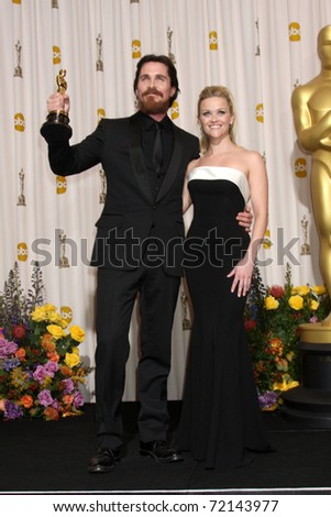 LOS ANGELES -  FEB 27: Christian Bale, Reese Witherspoon arrive in the Press Room at the 83rd Academy Awards at Kodak Theater, Hollywood & Highland on February 27, 2011 in Los Angeles, CA