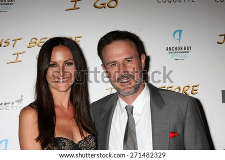"LOS ANGELES - FEB 20:  Christina McLarty, David Arquette at the ""Just Before I Go"" Premiere at the ArcLight Hollywood Theaters on April 20, 2015 in Los Angeles, CA - stock photo"