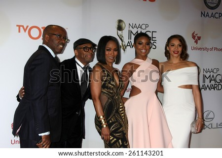 LOS ANGELES - FEB 6:  Courtney B. Vance, Spike Lee, Angela Bassett, Gabrielle Union, Carmen Ejogo at the 46th NAACP Image Awards Arrivals on February 6, 2015 in Pasadena, CA - stock photo