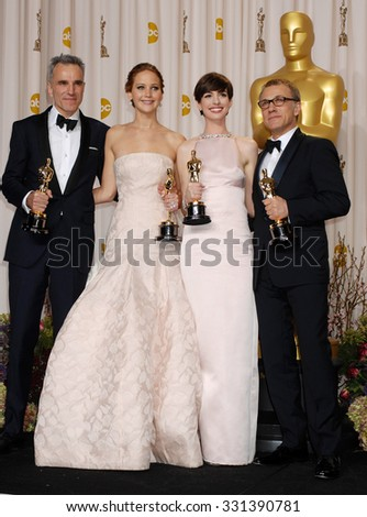 LOS ANGELES - FEB 24 - Daniel Day-Lewis, Jennifer Lawrence, Anne Hathaway and Christoph Waltz arrives at the 85th Annual Academy Awards Press Room  on February 24, 2013 in Los Angeles, CA              - stock photo