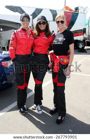 LOS ANGELES - FEB 7:  Dara Torres, Donna Feldman, Tricia Helfer at the Toyota Grand Prix of Long Beach Pro/Celebrity Race Press Day at the Grand Prix Compound on FEB 7, 2015 in Long Beach, CA - stock photo