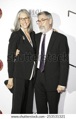 LOS ANGELES - FEB 14: Deborah Nadoolman Landis, John Landis at the Make-Up Artists & Hair Stylists Guild Awards at the Paramount Theater on February 14, 2015 in Los Angeles, CA - stock photo