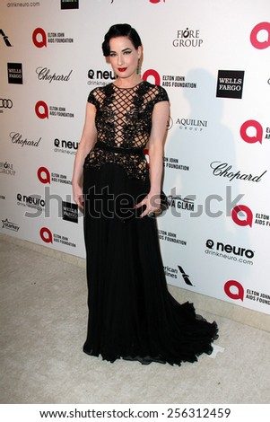 LOS ANGELES - FEB 22:  Dita Von Teese at the Elton John Oscar Party 2015 at the City Of West Hollywood Park on February 22, 2015 in West Hollywood, CA - stock photo