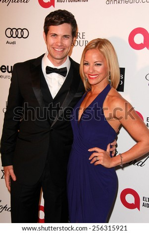 LOS ANGELES - FEB 22:  Drew Seeley, Amy Paffrath at the Elton John Oscar Party 2015 at the City Of West Hollywood Park on February 22, 2015 in West Hollywood, CA - stock photo
