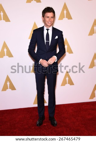 LOS ANGELES - FEB 02:  Eddie Redmayne arrives to the Oscar Nominee Reception  on February 2, 2015 in Beverly Hills, CA                 - stock photo
