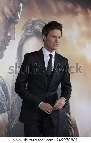 LOS ANGELES - FEB 2: Eddie Redmayne at the 'Jupiter Ascending' Los Angeles Premiere at TCL Chinese Theater on February 2, 2015 in Hollywood, Los Angeles, California - stock photo
