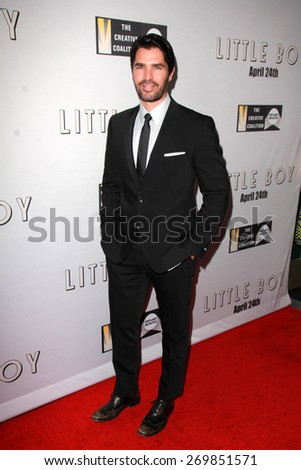 """LOS ANGELES - FEB 14:  Eduardo Verastegui at the """"Little Boy"""" Los Angeles Premiere at the Regal 14 Theaters on April 14, 2015 in Los Angeles, CA - stock photo"""