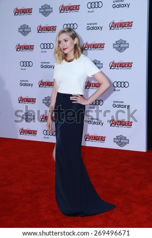 """LOS ANGELES - FEB 13:  Elizabeth Olsen at the """"Avengers; Age Of Ultron"""" Los Angeles Premiere at the Dolby Theater on April 13, 2015 in Los Angeles, CA - stock photo"""