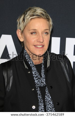 LOS ANGELES - FEB 10: Ellen DeGeneres arriving at the Saint Laurent fashion show at the Hollywood Palladium on February 10, 2016 in Los Angeles, California - stock photo
