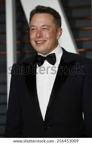 LOS ANGELES - FEB 22:  Elon Musk at the Vanity Fair Oscar Party 2015 at the Wallis Annenberg Center for the Performing Arts on February 22, 2015 in Beverly Hills, CA - stock photo