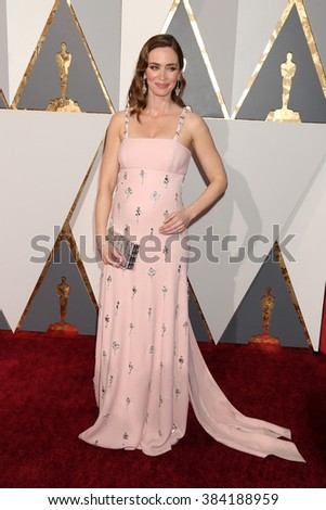 LOS ANGELES - FEB 28:  Emily Blunt at the 88th Annual Academy Awards - Arrivals at the Dolby Theater on February 28, 2016 in Los Angeles, CA - stock photo