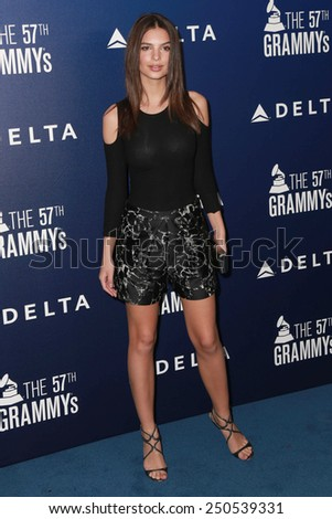 LOS ANGELES - FEB 5:  Emily Ratajkowski at the Delta Air Lines Toasts 2015 GRAMMYs at a SOHO House on February 5, 2015 in West Hollywood, CA - stock photo