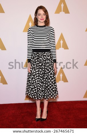 LOS ANGELES - FEB 02:  Emma Stone arrives to the Oscar Nominee Reception  on February 2, 2015 in Beverly Hills, CA                 - stock photo