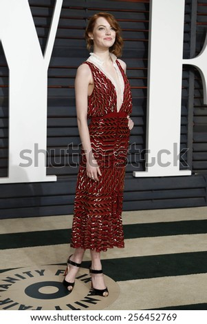 LOS ANGELES - FEB 22:  Emma Stone at the Vanity Fair Oscar Party 2015 at the Wallis Annenberg Center for the Performing Arts on February 22, 2015 in Beverly Hills, CA - stock photo