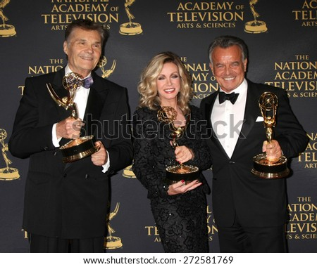 LOS ANGELES - FEB 24:  Fred Willard, Donna Mills, Ray Wise at the Daytime Emmy Creative Arts Awards 2015 at the Universal Hilton Hotel on April 24, 2015 in Los Angeles, CA - stock photo