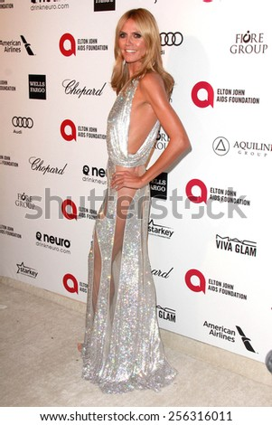 LOS ANGELES - FEB 22:  Heidi Klum at the Elton John Oscar Party 2015 at the City Of West Hollywood Park on February 22, 2015 in West Hollywood, CA - stock photo