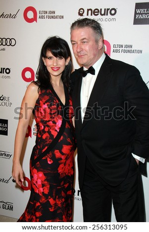 LOS ANGELES - FEB 22:  Hilaria Baldwin, Alec Baldwin at the Elton John Oscar Party 2015 at the City Of West Hollywood Park on February 22, 2015 in West Hollywood, CA - stock photo