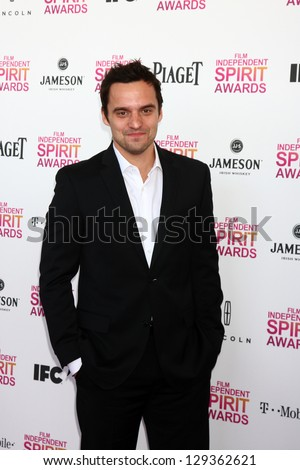 LOS ANGELES - FEB 23:  Jake Johnson attends the 2013 Film Independent Spirit Awards at the Tent on the Beach on February 23, 2013 in Santa Monica, CA