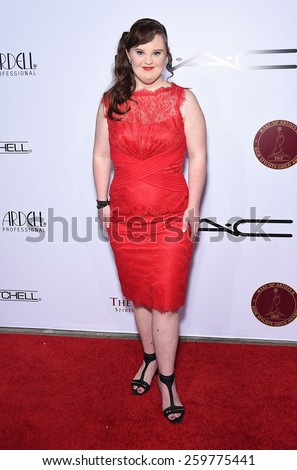 LOS ANGELES - FEB 14:  Jamie Brewer arrives to the Make-Up Artists & Hair Stylists Guild Awards 2015  on February 14, 2015 in Hollywood, CA                 - stock photo