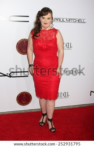 LOS ANGELES - FEB 14:  Jamie Brewer at the 2015 Make-up and Hair Stylists Guild Awards at a Paramount Theater on February 14, 2015 in Los Angeles, CA - stock photo