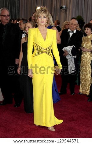 LOS ANGELES - FEB 24:  Jane Fonda arrives at the 85th Academy Awards presenting the Oscars at the Dolby Theater on February 24, 2013 in Los Angeles, CA - stock photo
