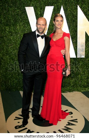 LOS ANGELES - FEB 26:  Jason Statham; Rosie Huntington-Whiteley arrive at the 2012 Vanity Fair Oscar Party  at the Sunset Tower on February 26, 2012 in West Hollywood, CA - stock photo
