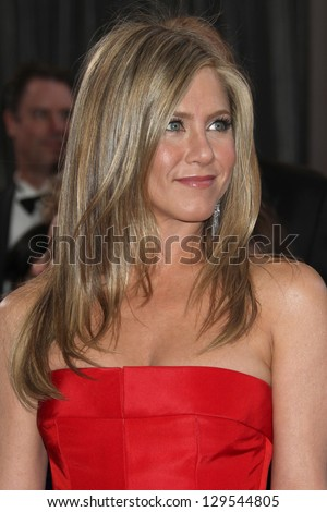 LOS ANGELES - FEB 24:  Jennifer Aniston arrives at the 85th Academy Awards presenting the Oscars at the Dolby Theater on February 24, 2013 in Los Angeles, CA - stock photo