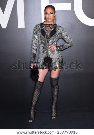 LOS ANGELES - FEB 20:  Jennifer Lopez arrives to the Tom Ford Autumn/Winter 2015 Womenswear Collection Presentation  on February 20, 2015 in Hollywood, CA                 - stock photo