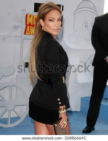 LOS ANGELES - FEB 11:  Jennifer Lopez at the MTV Movie Awards 2015 at the Nokia Theater on April 11, 2015 in Los Angeles, CA - stock photo