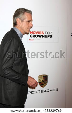 LOS ANGELES - FEB 2:  Jeremy Irons at the AARP 14th Annual Movies For Grownups Awards Gala at a Beverly Wilshire Hotel on February 2, 2015 in Beverly Hills, CA - stock photo