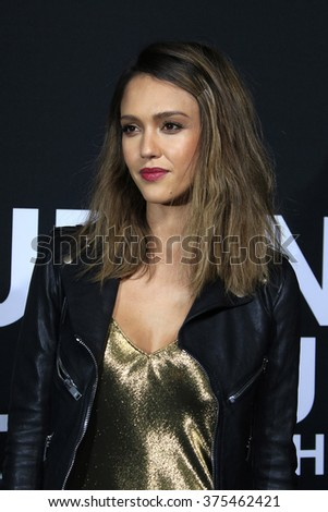 LOS ANGELES - FEB 10: Jessica Alba arriving at the Saint Laurent fashion show at the Hollywood Palladium on February 10, 2016 in Los Angeles, California - stock photo
