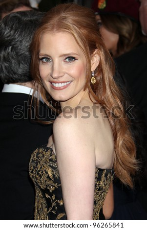 LOS ANGELES - FEB 26:  Jessica Chastain arrives at the 84th Academy Awards at the Hollywood & Highland Center on February 26, 2012 in Los Angeles, CA. - stock photo