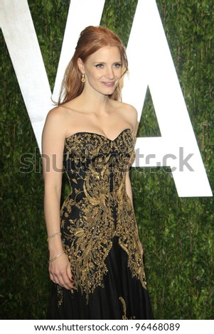 LOS ANGELES - FEB 26:  Jessica Chastain arrives at the 2012 Vanity Fair Oscar Party  at the Sunset Tower on February 26, 2012 in West Hollywood, CA