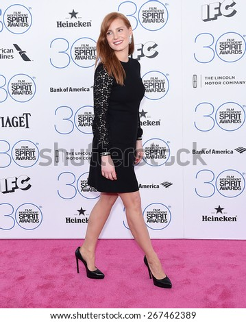LOS ANGELES - FEB 21:  Jessica Chastain arrives to the 2015 Film Independent Spirit Awards  on February 21, 2015 in Santa Monica, CA                 - stock photo